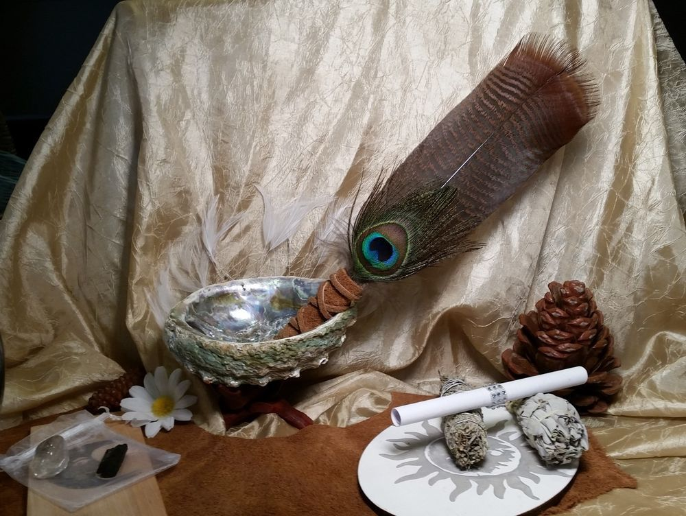 Abalone Shell California White Sage Smudge Stick & Feather