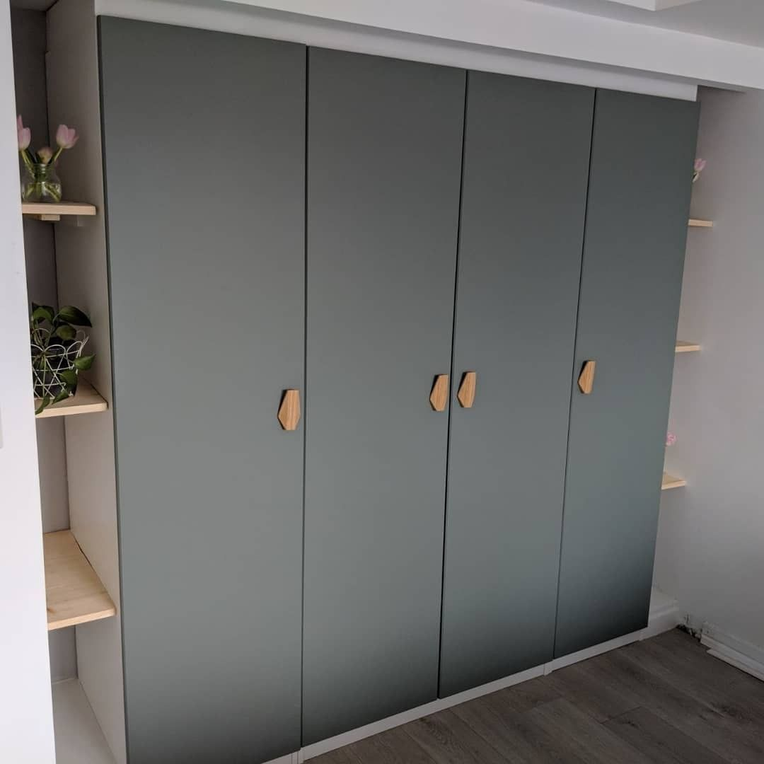 Built In Pax Wardrobe Reinsvoll Grey Green Door Bamboo Nobs Track Lighting Pax Kast Kast Slaapkamer Ikea Kledingkast