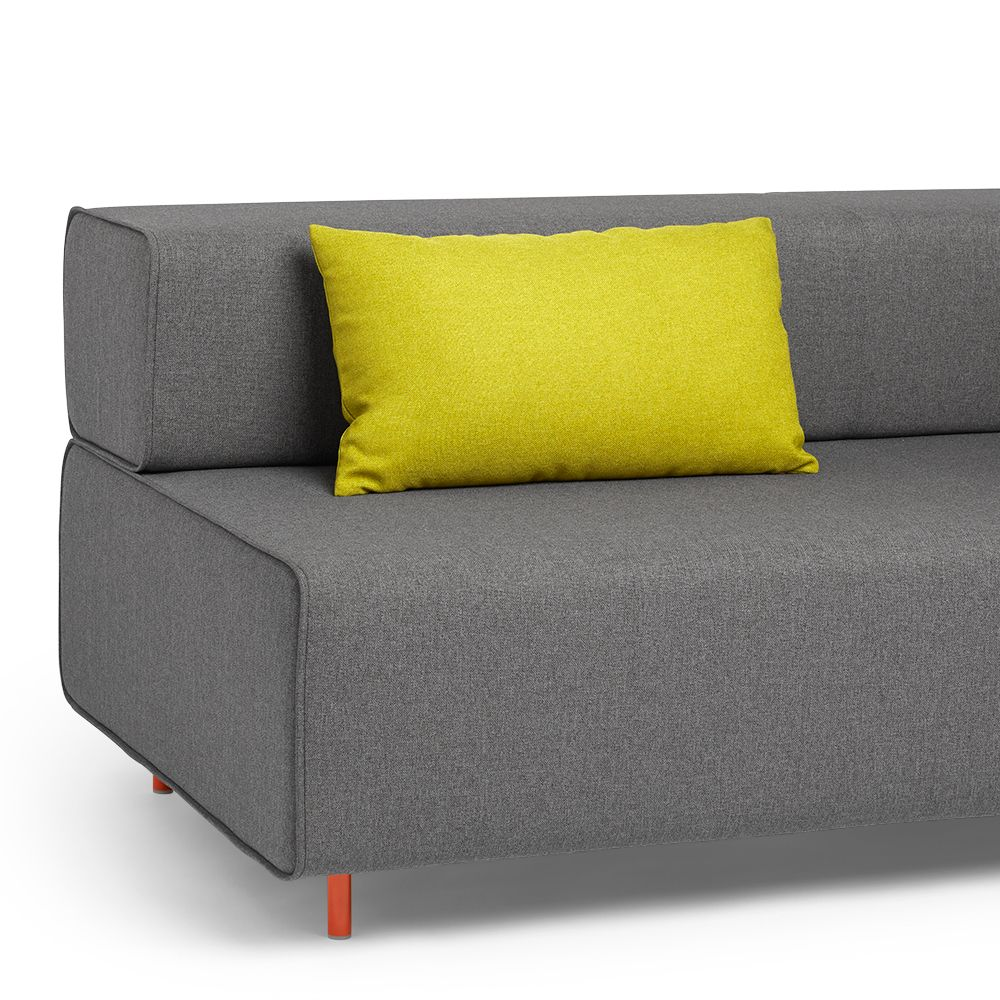 The head rest block party lumbar pillow green shown on the dark