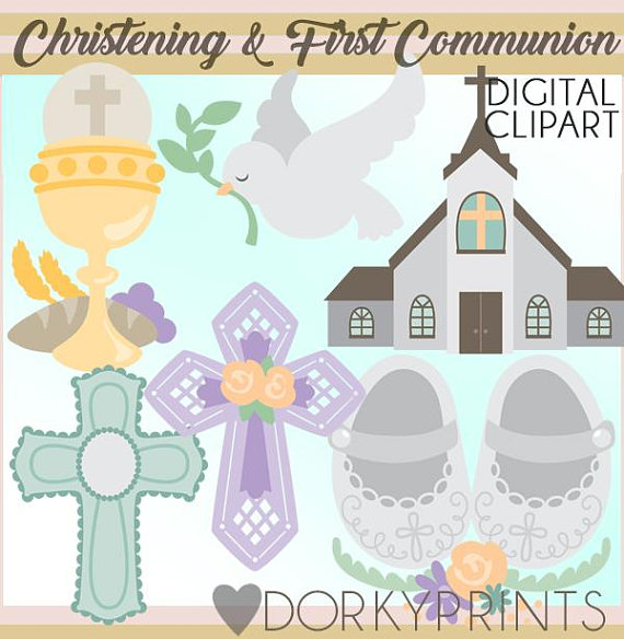 christening and first communion clipart set personal and limited rh pinterest com First Communion Invitations First Communion Invitations