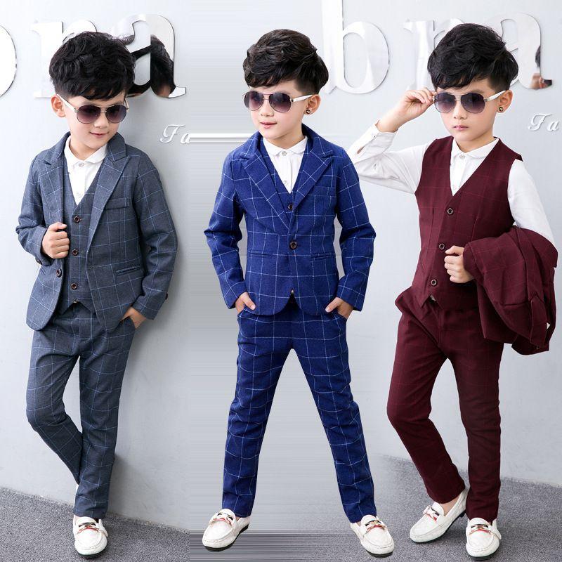 10c5ab4eb 3pcs Jacket+Vest+Pants 2017 New Fashion Toddler Kids Boys Plaid Formal  Party Weddings Tuxedos Boys Suits Blazers Boys Blazer Set-in Blazers from  Mother ...