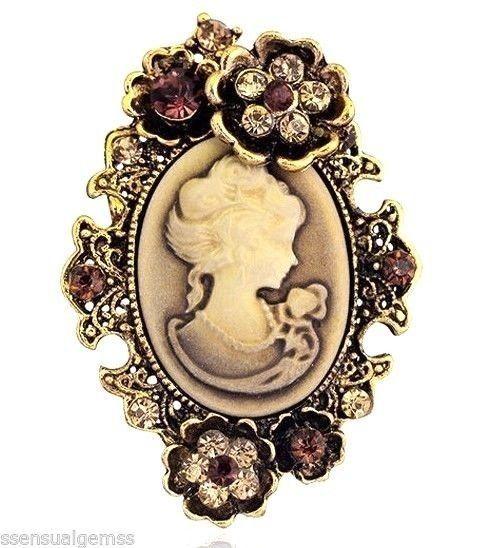 New Cameo Floral Brown Brooch Oval Women Pin Crystal  #SensualGems #PinBrooch