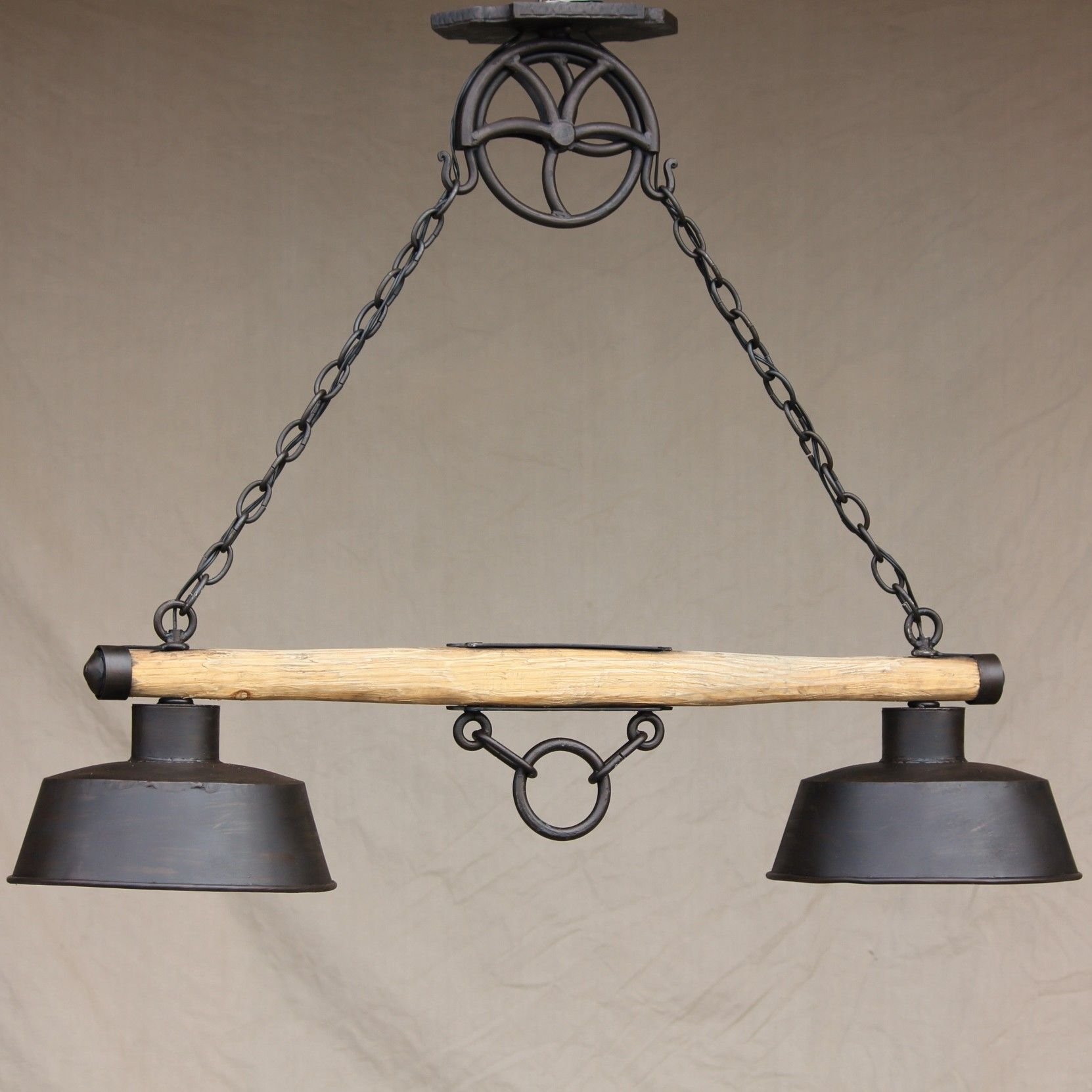 log cabin wood chandelier hanging Hand Forged Wrought Iron