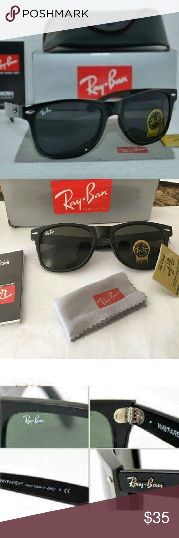 Ray-ban sunglasses Men's / Women's **Great Christmas Gift** (Ray ban sunglasses with box and case ) You will receive 100%, you see in the picture t's Chinese brand  All items are brand new, never used 100% of the area. size : large 54mm 1 Box  1 sunglass  1 Sunglass Bag  1 Sunglass cleaning cloth  1 Certification Tag  1 Certification instruction book Ray-Ban Accessories