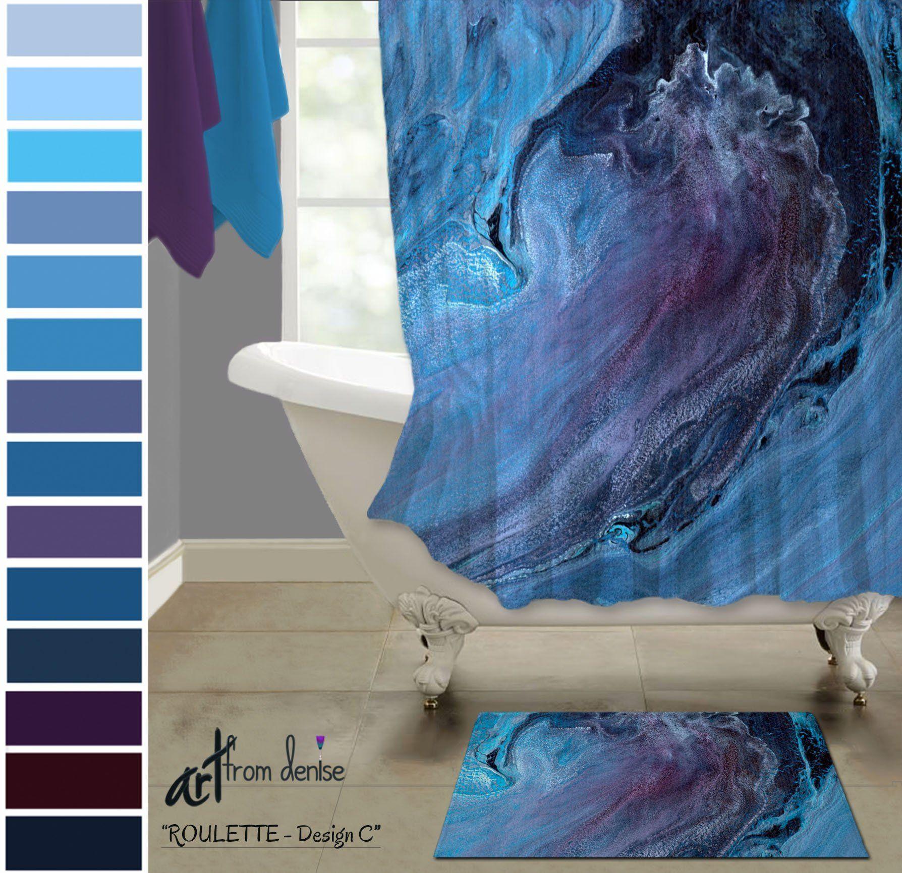 Blue And Purple Bathroom Sets Fabric Shower Curtain Bath Mat