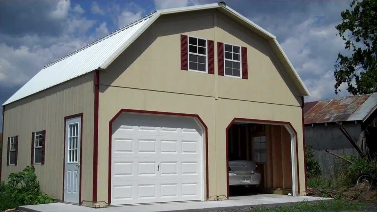 Amish Built Story Garage Youtube Garages Two Car Raised
