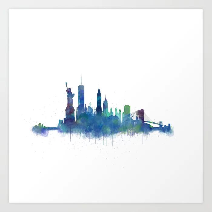Buy Ny New York City Skyline Nyc Watercolor Art Art Print By Hqphoto Worldwide Shipping Available At Society6 Com City Skyline Art Watercolor City Skyline Art