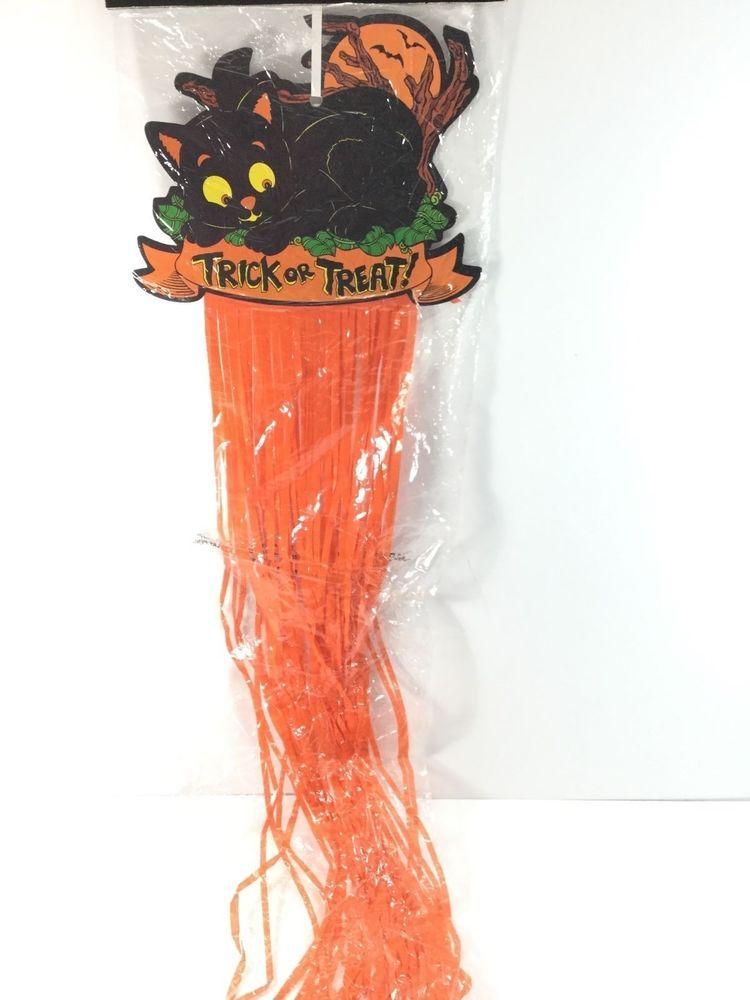 Halloween Decoration Black Cat Trick or Treat Plastic Streamer - halloween decorations black cat