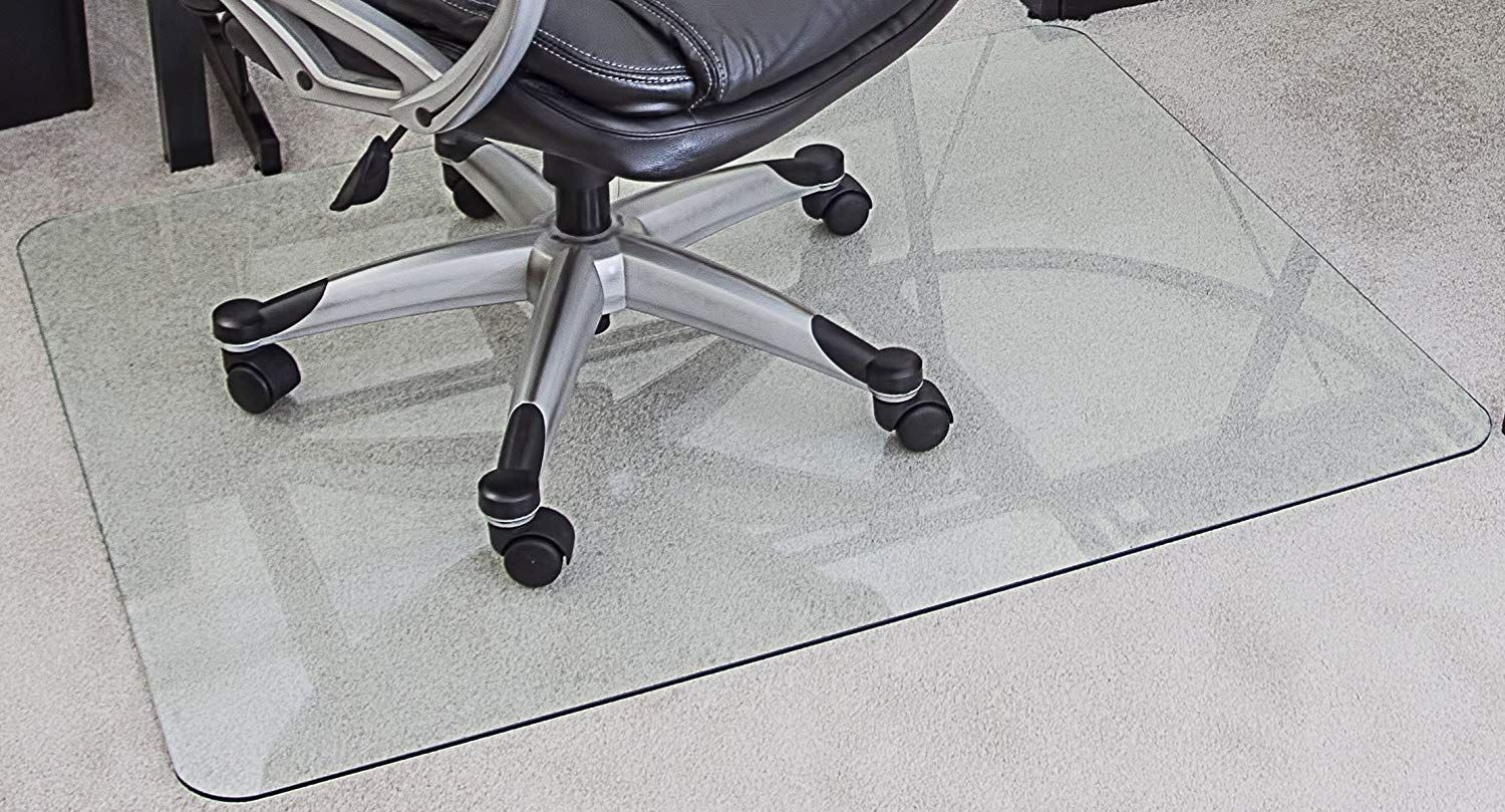Myglassmat 36 X 48 Inch Tempered Glass Chair Mat For Carpet And Hard Floors Rounded Corners Smooth Polished Edges