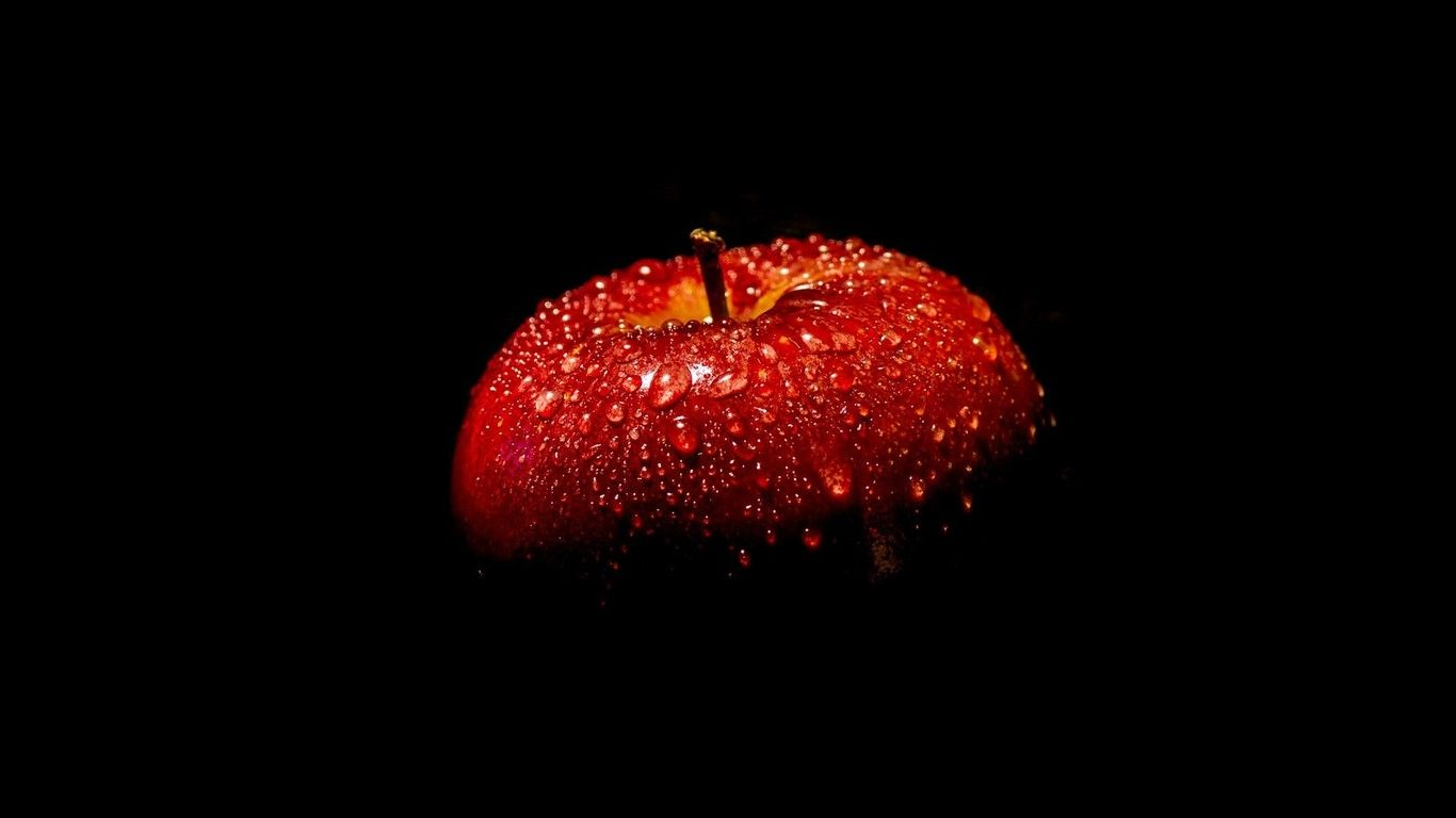 Wallpaper Download 1366x768 Red Apple Full With Water Drops In The Dark Beautiful Macro Wallpapers Hd Wallpaper Download For Ip Apple Picture Red Apple Apple