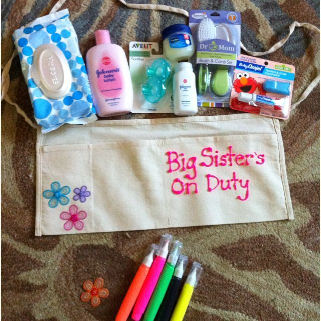 Superior Gift Ideas For Big Sister At Baby Shower Part - 1: Big Sister Shower Gift - Saw This Idea Online And Made It Myself! A Diaper  Changing Belt With All The Accessories. Great For Big Sister Iseult And  Cousin ...