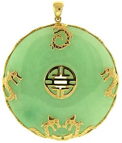 Green jade disc pendant with gold dragon accents dijes de mi green jade disc pendant with gold dragon accents aloadofball Image collections