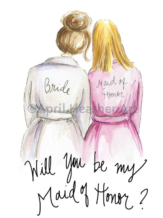 9ba7c84481 Bridesmaid PDF Brunette Bride and Blonde Maid of Honor