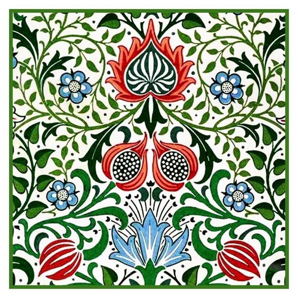 Wm Morris Millefleur Flower Design Detail Counted Cross Stitch Chart Pattern