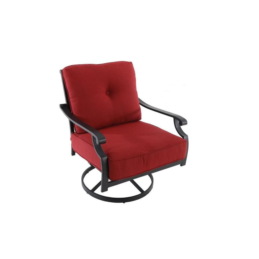 Garden Treasures Kingsmead Set Of 2 Black Metal Swivel Dining Chair S With Red Cushioned Seat Lowes Com Red Cushions Swivel Dining Chairs Chair