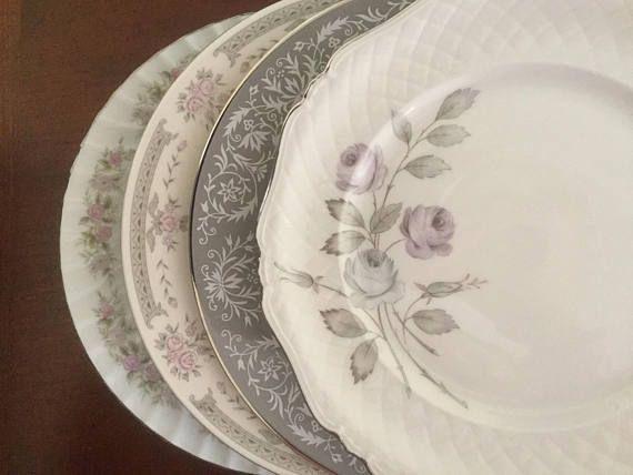 4 Mismatched Vintage China Weddings Dinner Plates Bridal/Tea & 4 Mismatched Vintage China Weddings Dinner Plates Bridal/Tea ...