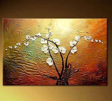 Hand Painted Wall Art white flowers oil painting hand painted wall art - ready to hang