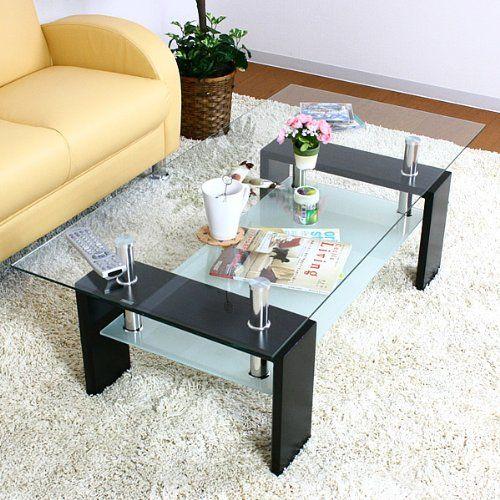 センターテーブル マックス クリア透明ガラス ブラック色 おしゃれなセンターテーブル Living Table Coffee Table Table