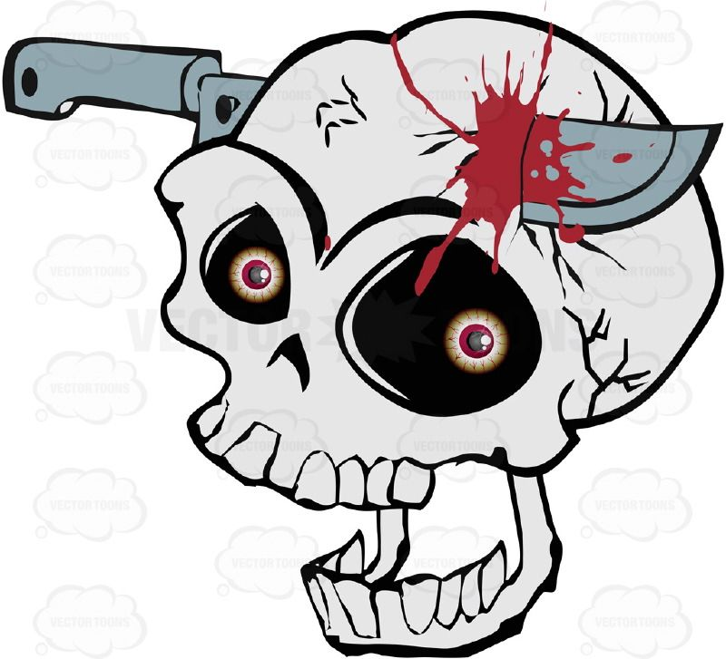 Screaming Cartoon Skull With Knife Stuck In Skull And ...