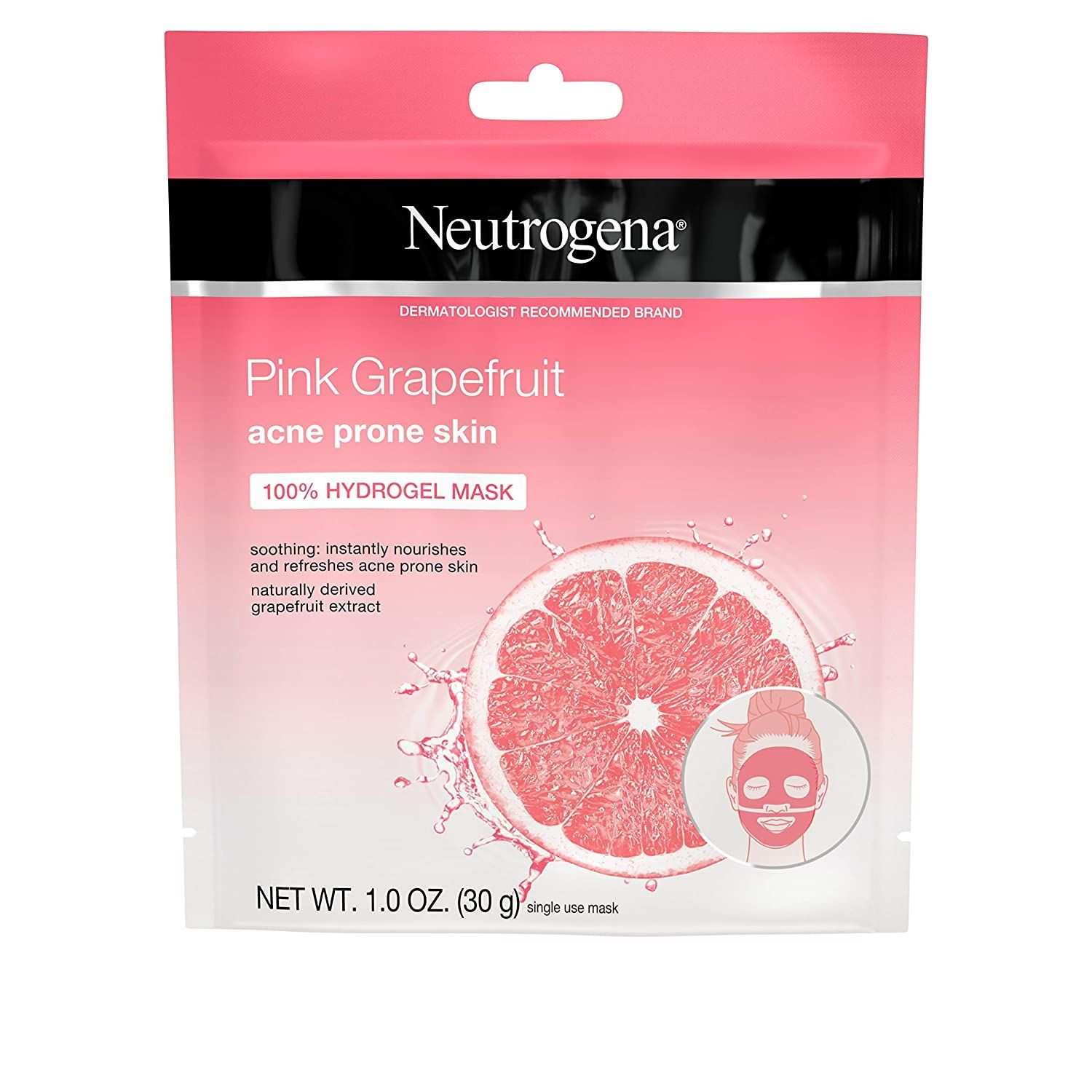 Photo of Neutrogena Pink Grapefruit 100% Hydrogel Acne Sheet Face Mask with Naturally-Derived Grapefruit Extract, Single-Use Soothing & Refreshing Acne-Fighting Face Mask, Non-Comedogenic, 1 ct