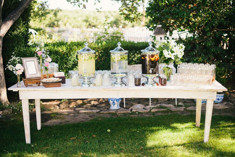Vintage Garden Wedding Welcome Beverage Station #embellishrentals ...