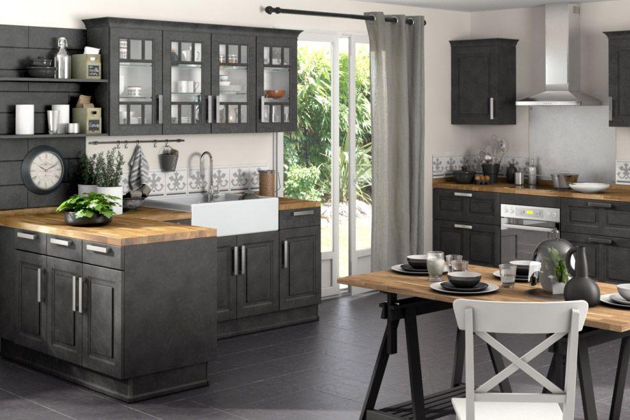 Résultat De Recherche Dimages Pour Cuisine Rétro Noir Projet - Lapeyre meuble haut cuisine pour idees de deco de cuisine