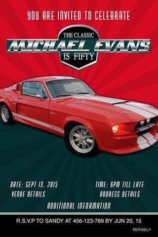Classic Car Mustang Birthday Digital Printable Invitation Template