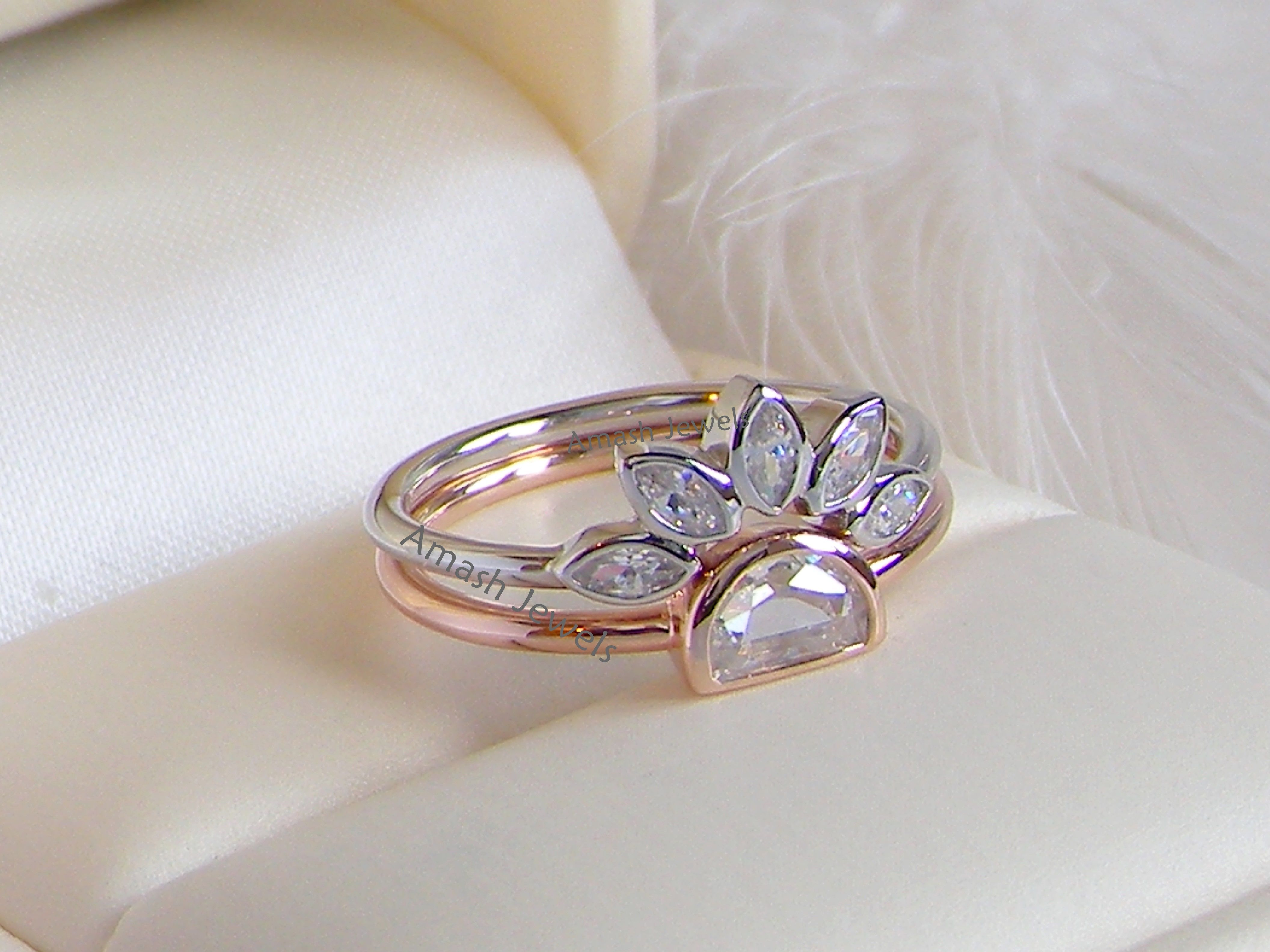 Price $39 Unusual rare Marquise Diamond Style rings set