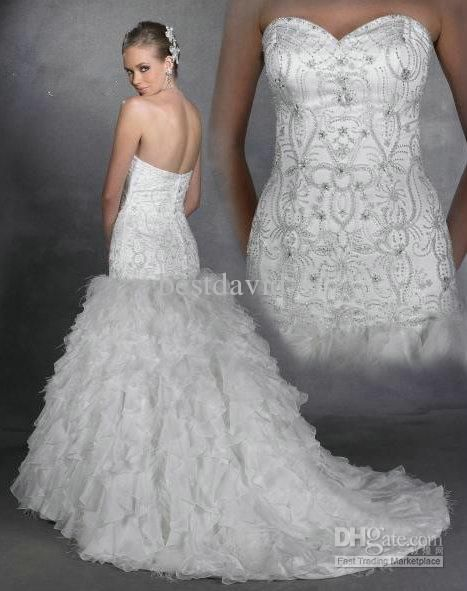 Luxury Bling Bling Mermaid Wedding Dress Jeweled Strapless Organza ...