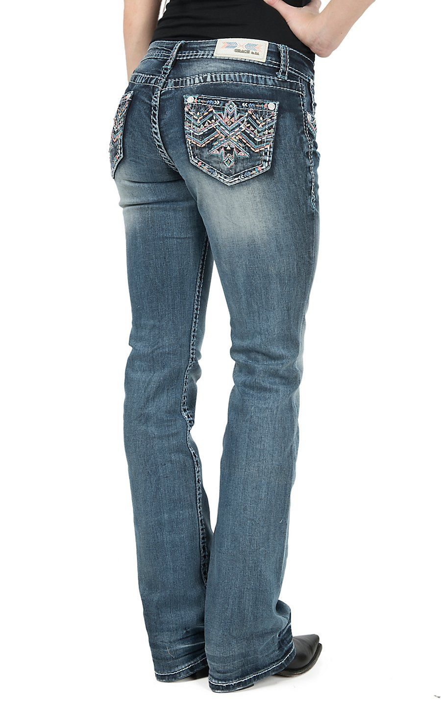 25a6ce3449 Grace in LA Women s Medium Wash Open Pocket with Colorful Zig Zag  Embroidery Boot Cut Jeans