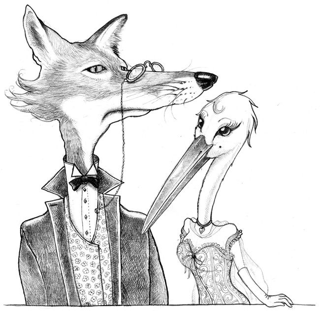 Le renard et la cigogne illustration pour un restaurant - Dessin le renard et la cigogne ...