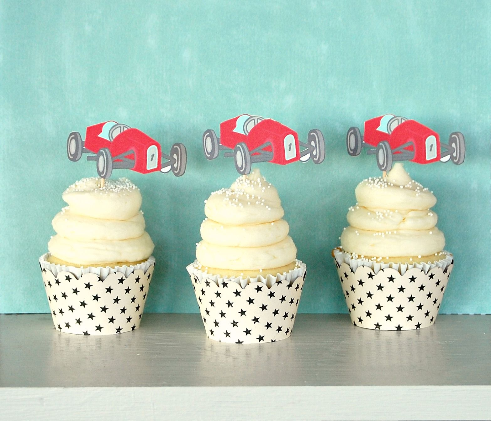 vintage race car cupcake Pierces 6th Birthday Party Pinterest