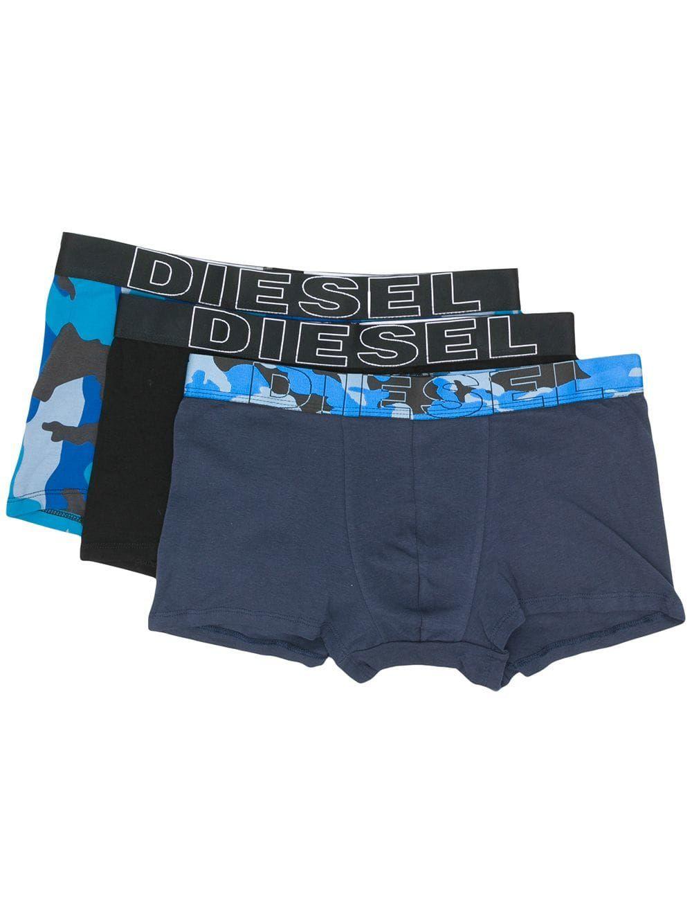 DIESEL Mens 3-Pack Brief UMBR-Andre Green Camouflage Print Black