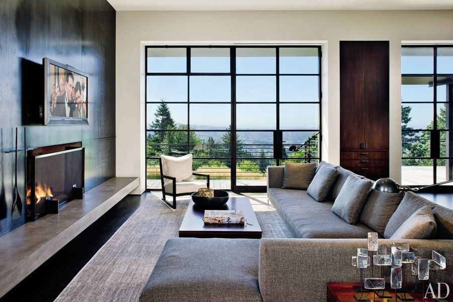 Modern Architectural Fireplaces fireplaces with flair | architectural digest, steel panels and