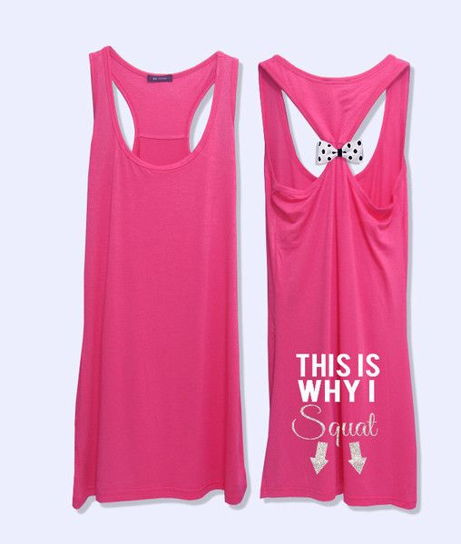 This is why i squat fitness workout tank top with  detachable bow-469