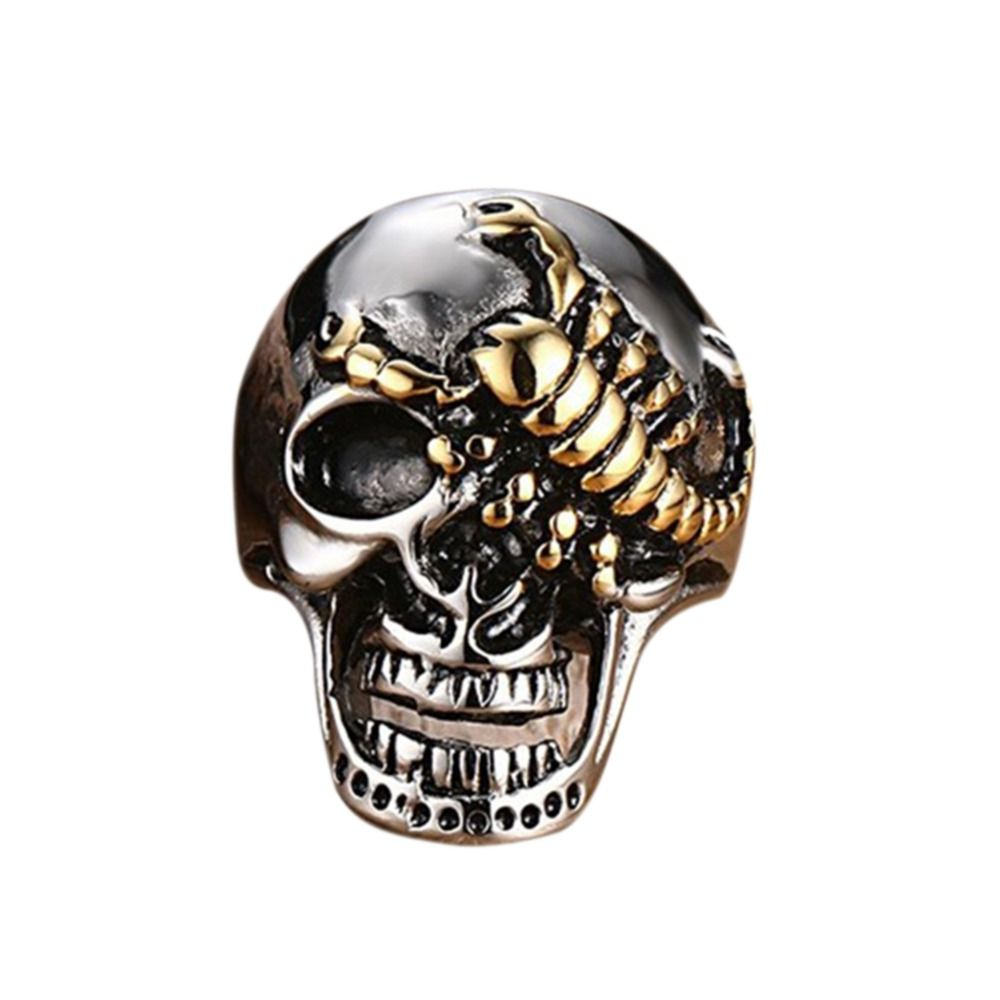 jewelry product stainless punk men with halloween chain ring skeleton for steel rings stone mens skull red