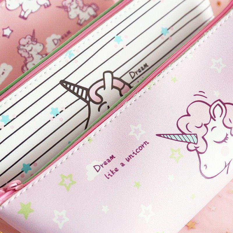 Japanese cute girl unicorn pencil case student stationery
