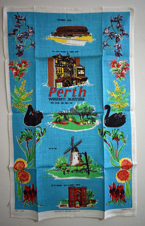 Beautiful Perth Tea Towel Vintage Western Australia