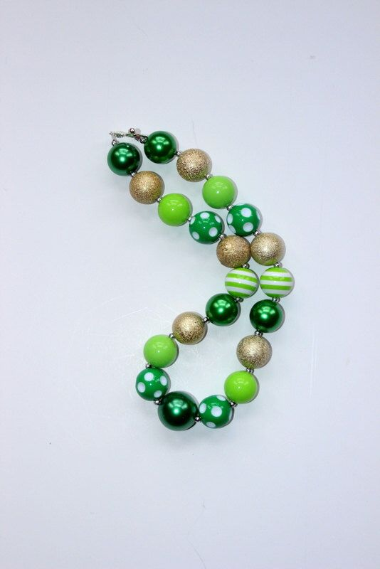 St Patricks Day chunky bead necklace green gold and white St Patricks Day bubblegum bead necklace girls chunky bubblegum necklace shamrock by LightningBugsLane on Etsy https://www.etsy.com/listing/177106144/st-patricks-day-chunky-bead-necklace