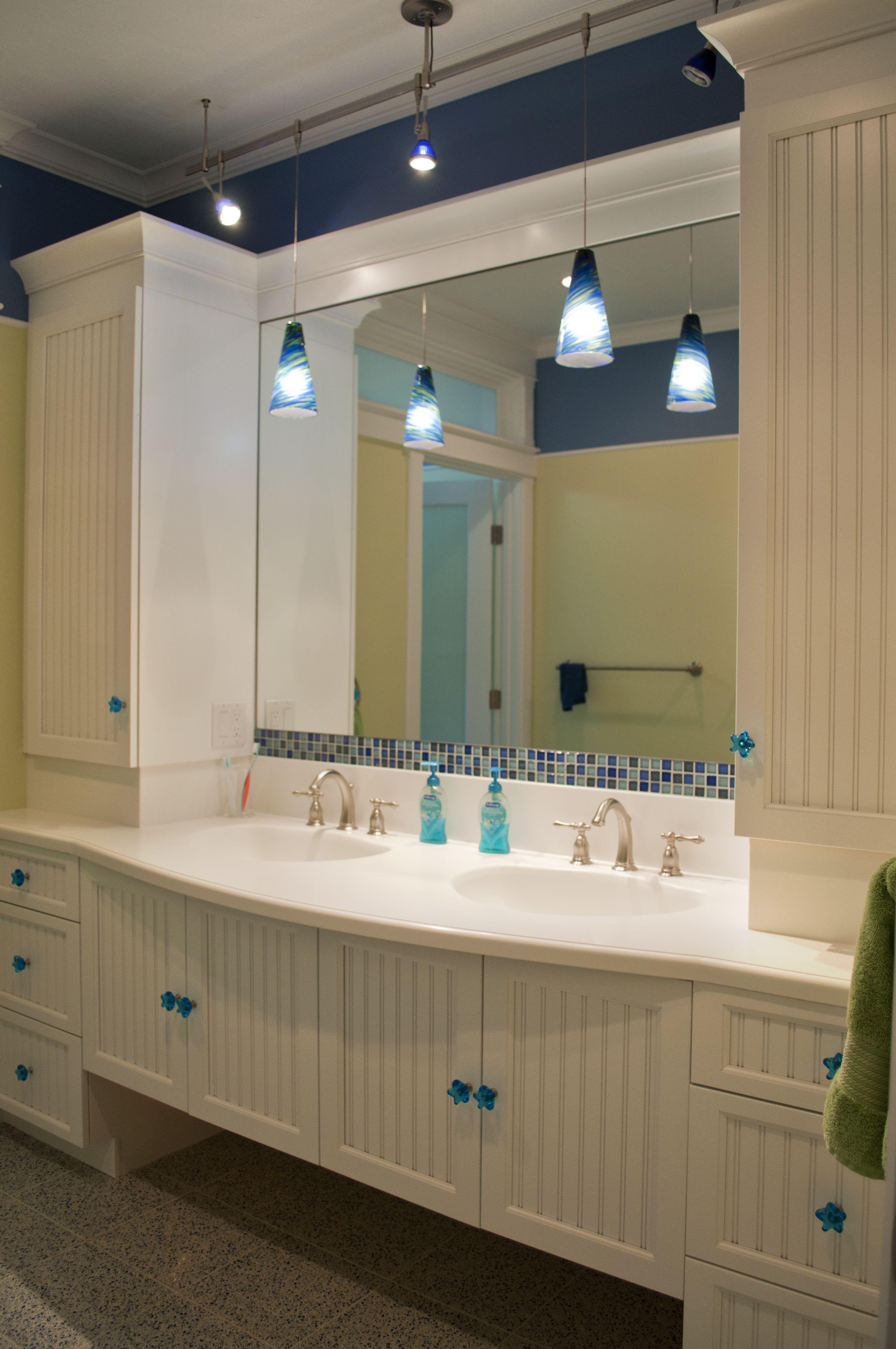 Kids Bathroom Vanities kids bathroom; hollywood bath suite, white beadboard inset