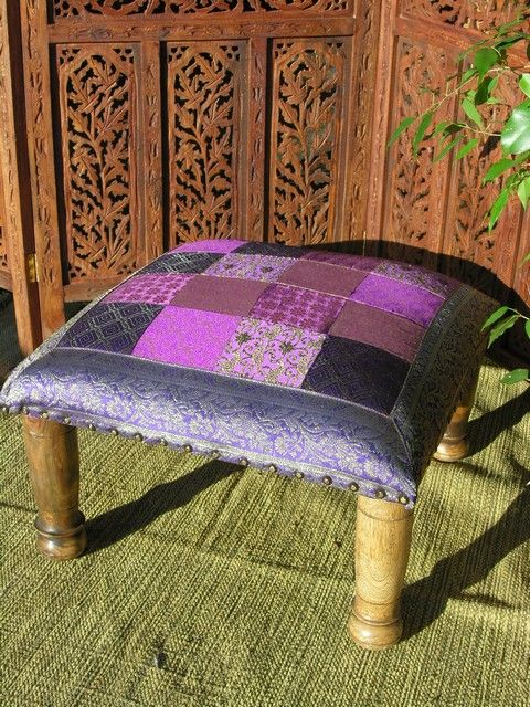 Strange Indian Wooden Foot Stool With Sari Top In Purple Bohemian Machost Co Dining Chair Design Ideas Machostcouk