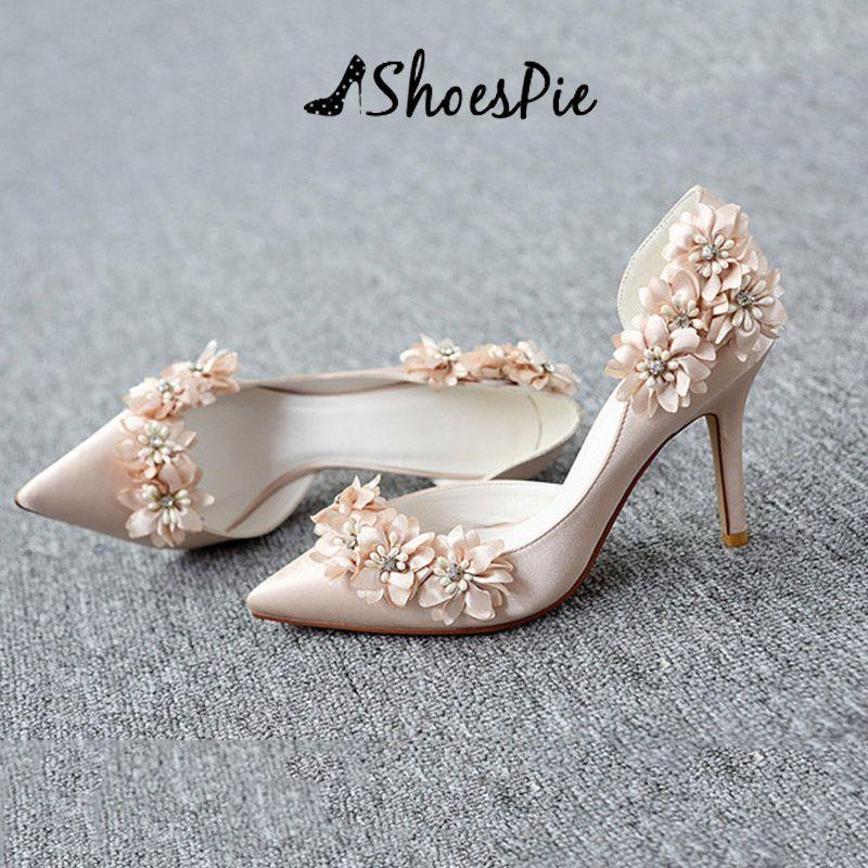 60c474ddbf8 Shoespie Champagne Flower Stiletto Heel Wedding Shoes