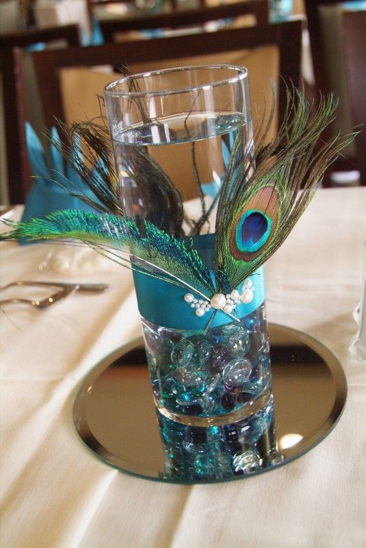peacock centerpiece maybe a floating candle in the water too my rh pinterest com Purple Wedding Centerpieces DIY Peacock Wedding Table Centerpieces