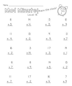 2OA2 Mad Minute Math Fluency | Mad minute math, Mad minute ...