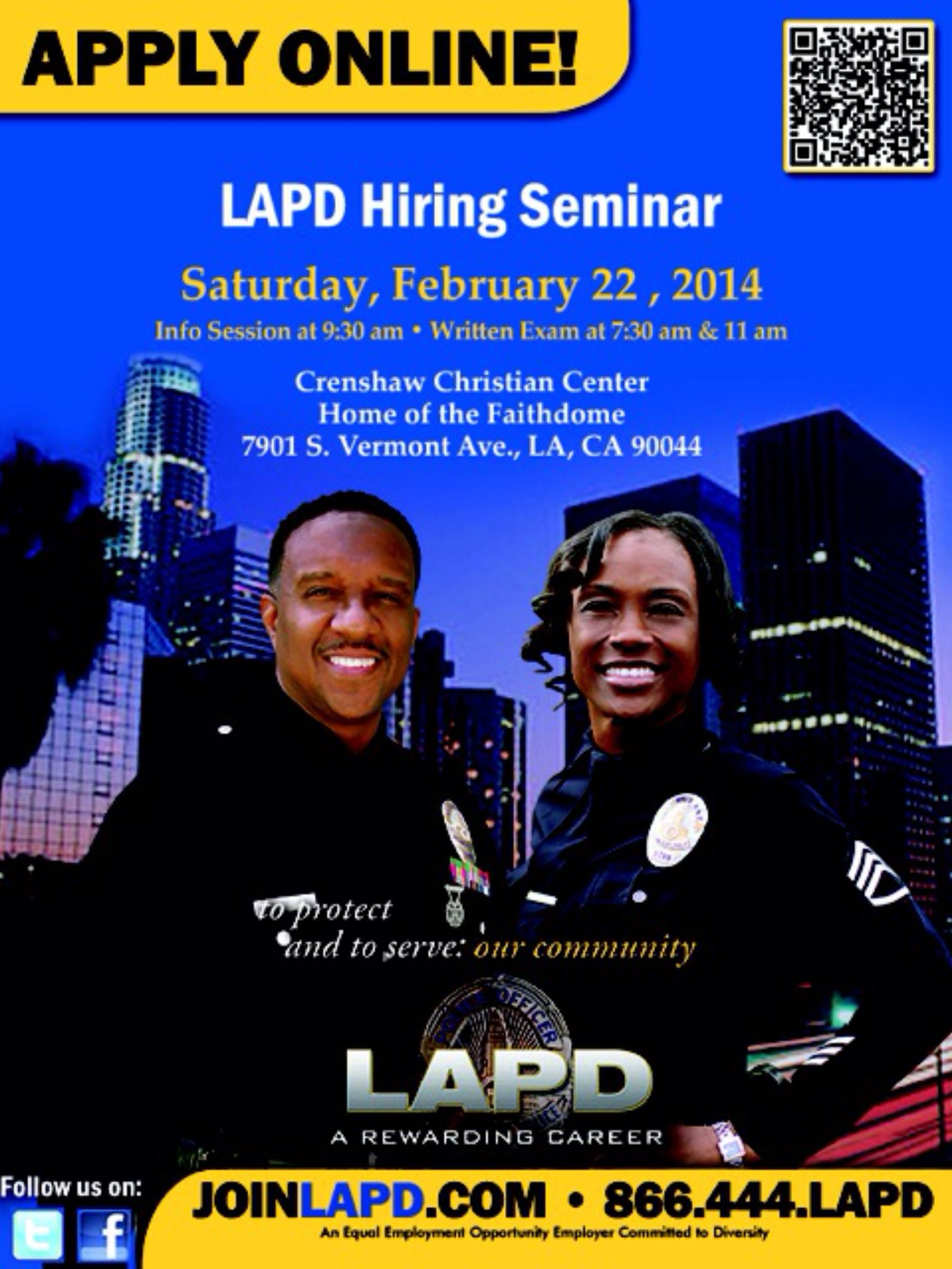 Join Us Saay February 22 2017 For The Lapd Hiring Seminar More Information Visit Joinlapd Or Call 866 444