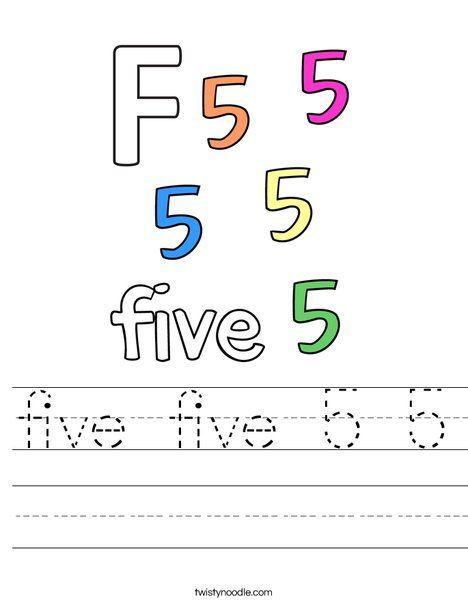 Five Five 5 5 Worksheet Twisty Noodle Kids Math Worksheets Math For Kids Free Printable Letter Stencils