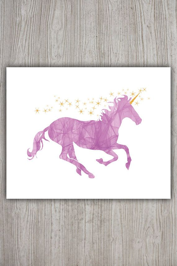 Pink unicorn art pink yellow nursery glitter unicorn for Chambre unicorn