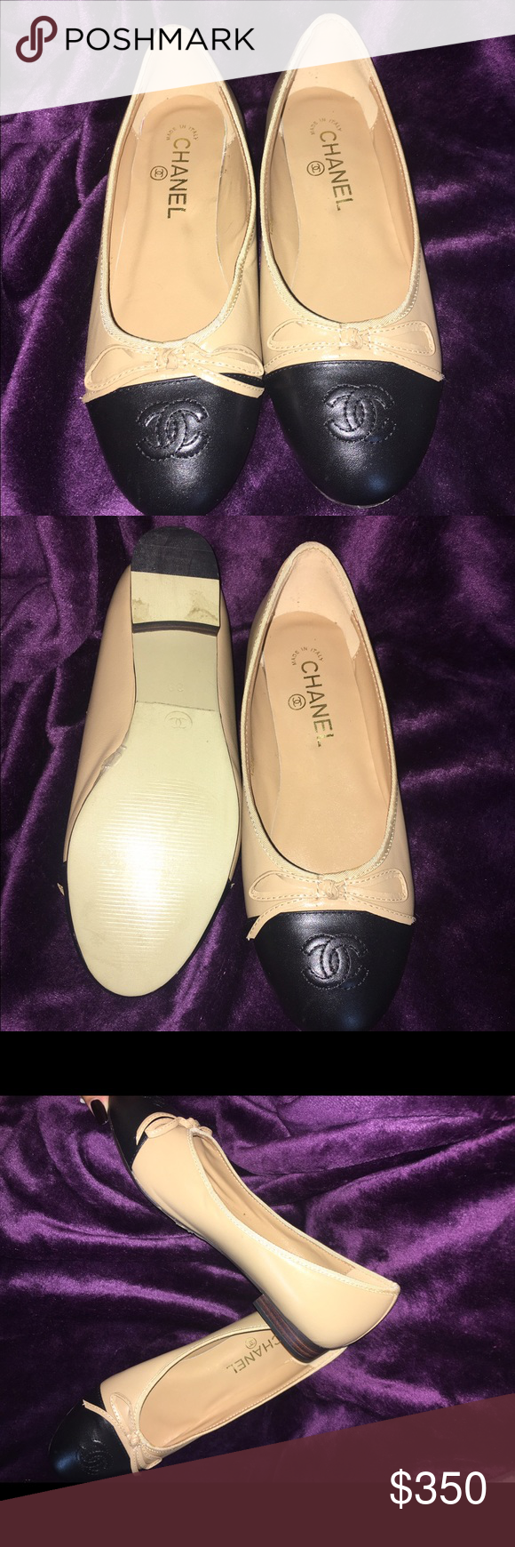 Chanel Flats Worn Once Has Protective Plastic On Soles That May Be Inside Kamelia Beige 39 Removed Size 8