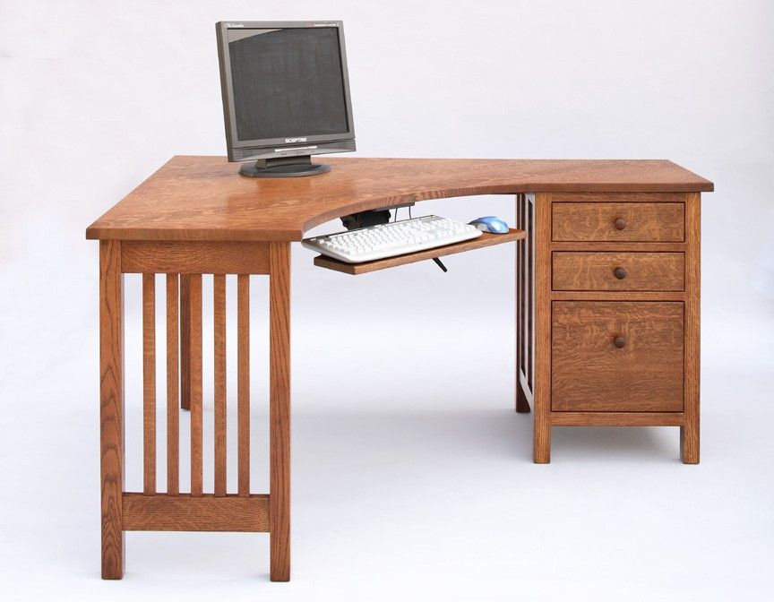Little Corner Desk with File Cabinet on Right in 1/4-sawn white Oak with English Stain & Little Corner Desk with File Cabinet on Right in 1/4-sawn white Oak ...