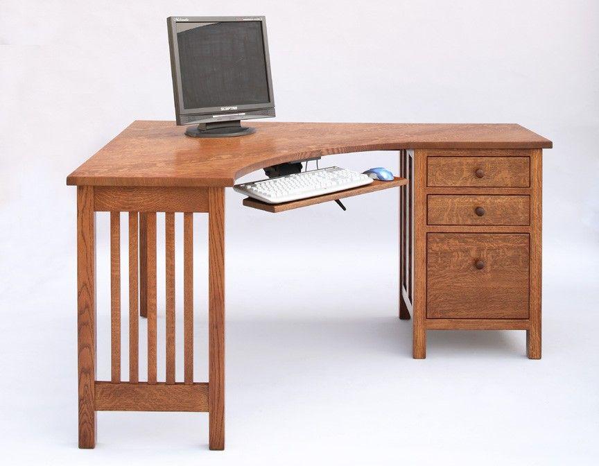 Little Corner Desk With File Cabinet On Right In 1/4 Sawn White Oak